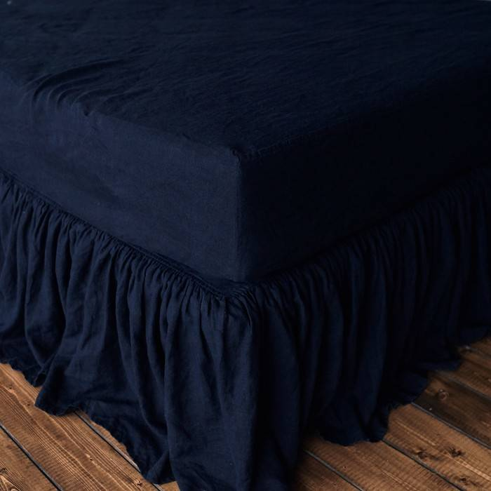 NIGHT BLUE Linen bed skirt