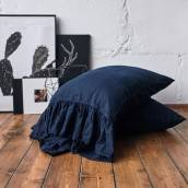 NIGHT BLUE 100 Percent Flax Linen pillow sham with ruffle