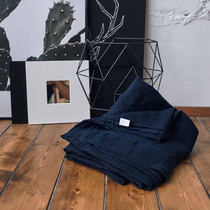 NIGHT BLUE Linen flat sheet