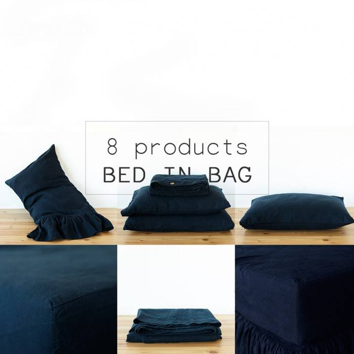 NIGHT BLUE Linen bed in bag