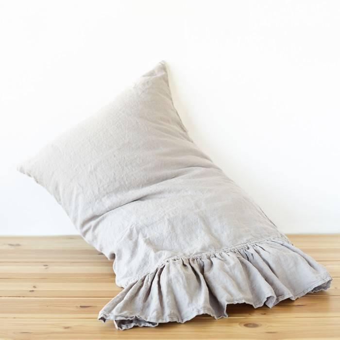 PINK ASH Linen pillow sham with ruffle