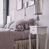 Linen pillow sham with ruffle in beautiful PINK ASH