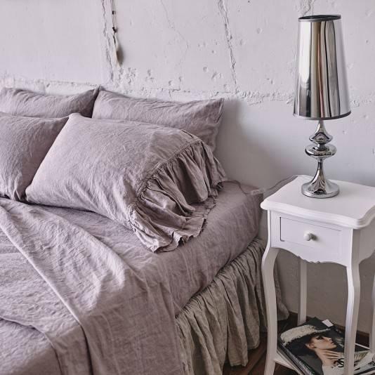 PINK ASH Linen sheet set with ruffle