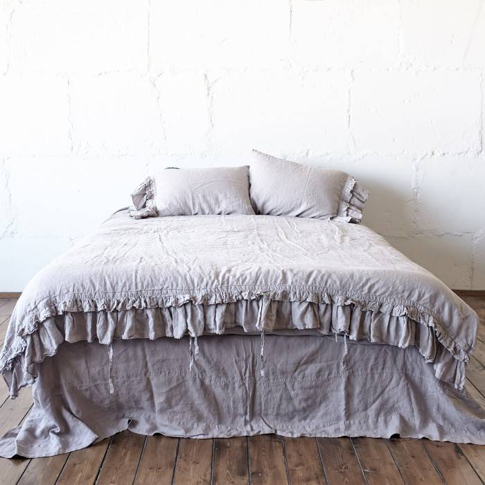 LINEN DUVET COVER 1 RUFFLE ties closure
