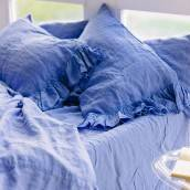 FRENCH BLUE 100 Percent Flax Linen fitted sheet