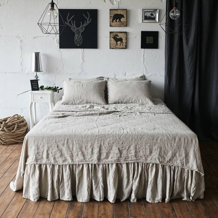 NATURAL GREY Linen sheet set slip