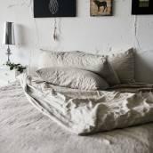 NATURAL GREY 100 Percent Flax Linen pillowcase