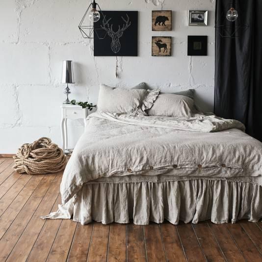 NATURAL GREY Linen sheet set with ruffle