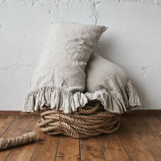 NATURAL GREY Linen pillow sham with ruffle