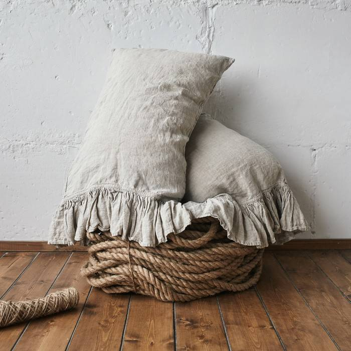 NATURAL GREY Linen pillow sham with ruffle