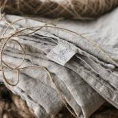 Linen sheet set slip in beautiful NATURAL GREY