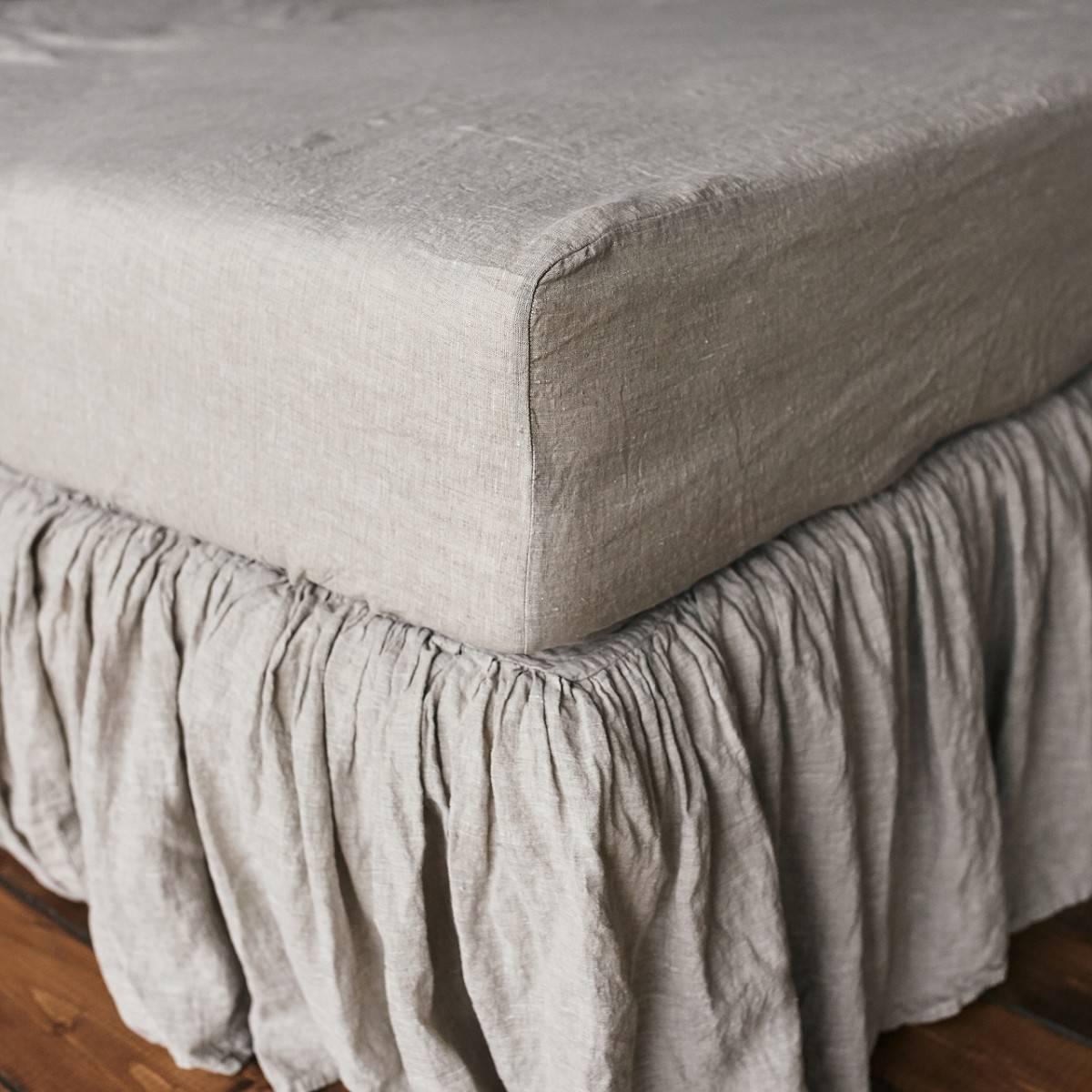 Grey Linen Bed Skirt : Natural gray linen fitted sheet len ok