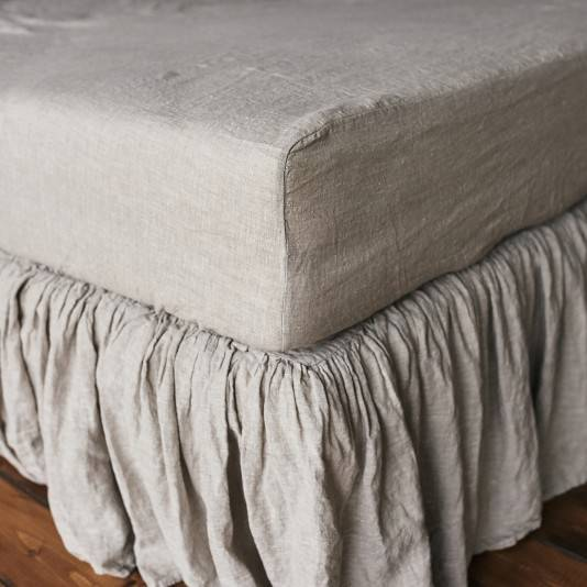 NATURAL GREY Linen fitted sheet
