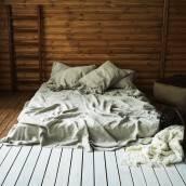 NATURAL GREY 100 Percent Flax Linen flat sheet