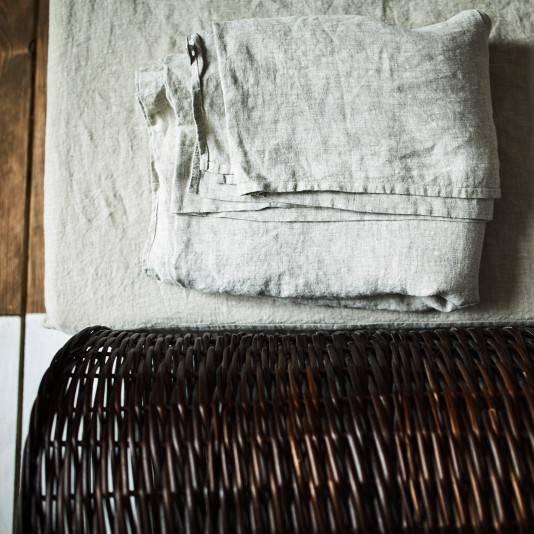 NATURAL GREY Linen flat sheet