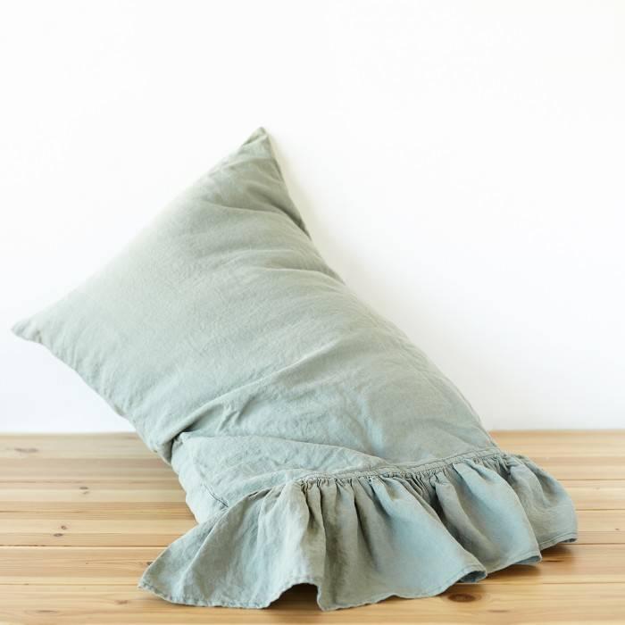 SAGE GREEN Linen pillow sham with ruffle