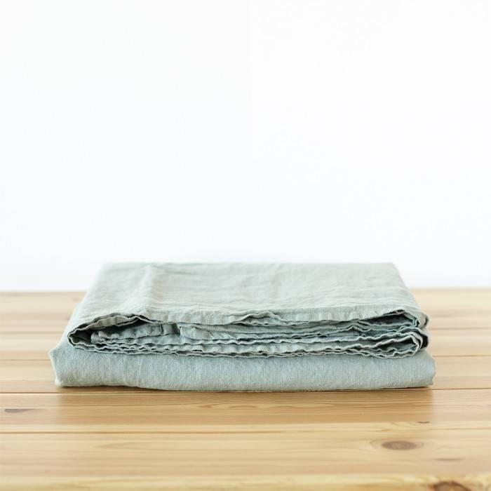 SAGE GREEN Linen flat sheet