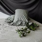 SAGE GREEN Pure Linen pillow sham with ruffle