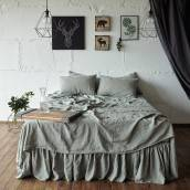 Linen bed skirt in beautiful SAGE GREEN