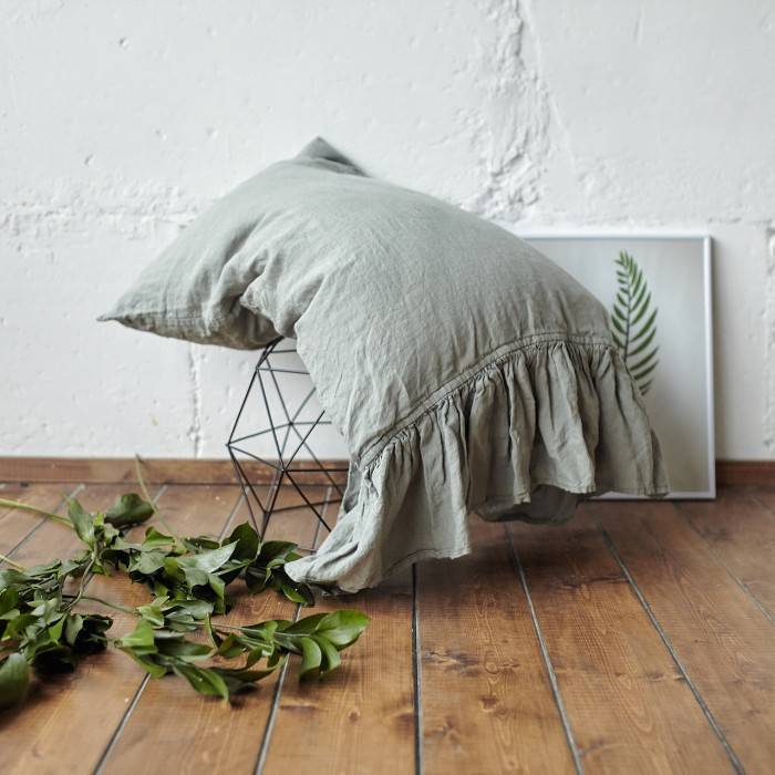 SAGE GREEN Linen pillow sham with ruffle