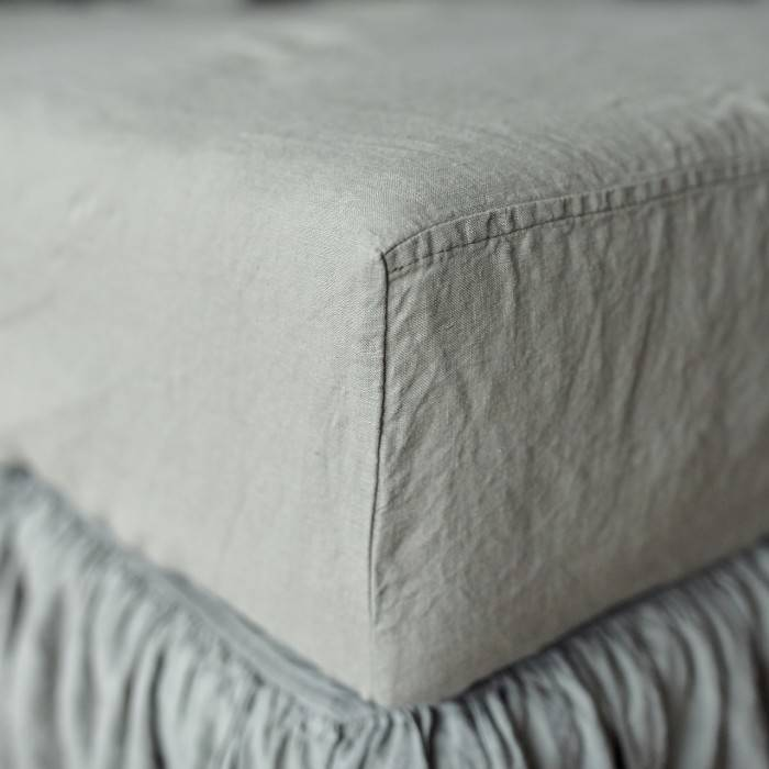 SAGE GREEN Linen bed skirt
