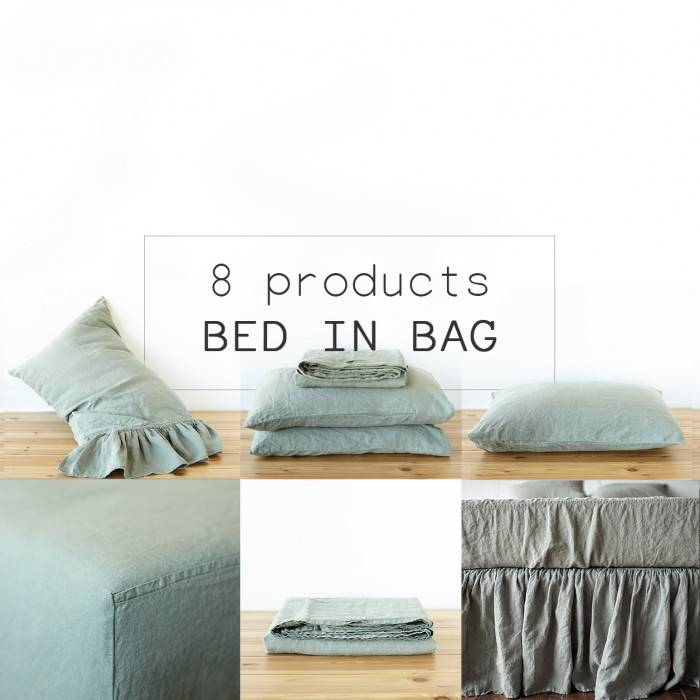 SAGE GREEN Linen bed in bag