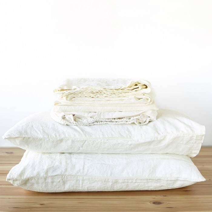 ANTIQUE WHITE Linen sheet set slip