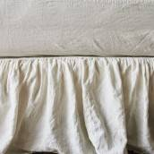 ANTIQUE WHITE 100 Percent Flax Linen bed skirt