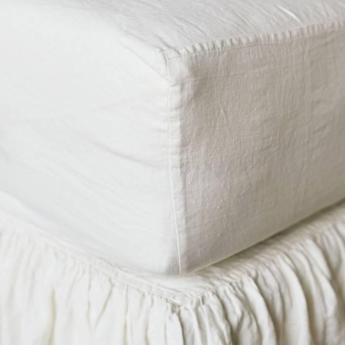 ANTIQUE WHITE Linen bed skirt