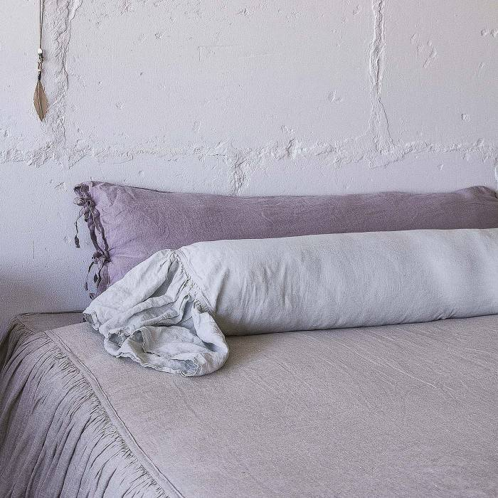 LINEN BOLSTER PILLOW SHAM with ruffle