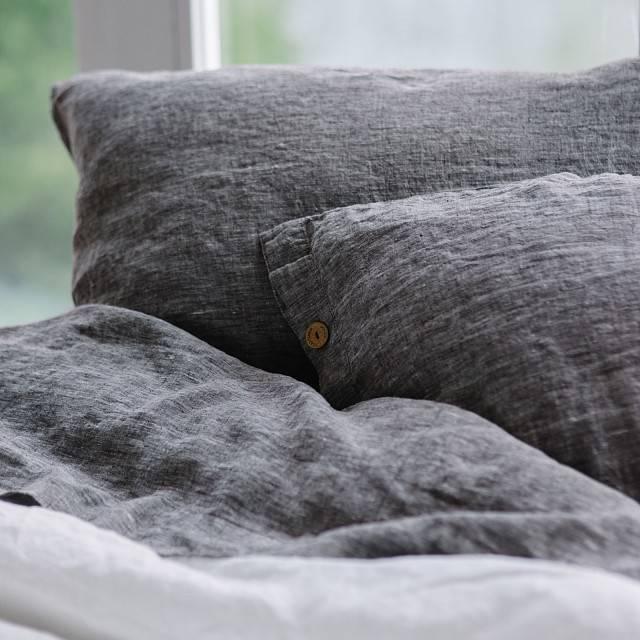 DARK GREY Linen pillow sham with buttons