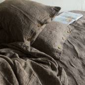 Linen pillow sham with buttons in beautiful DARK GREY