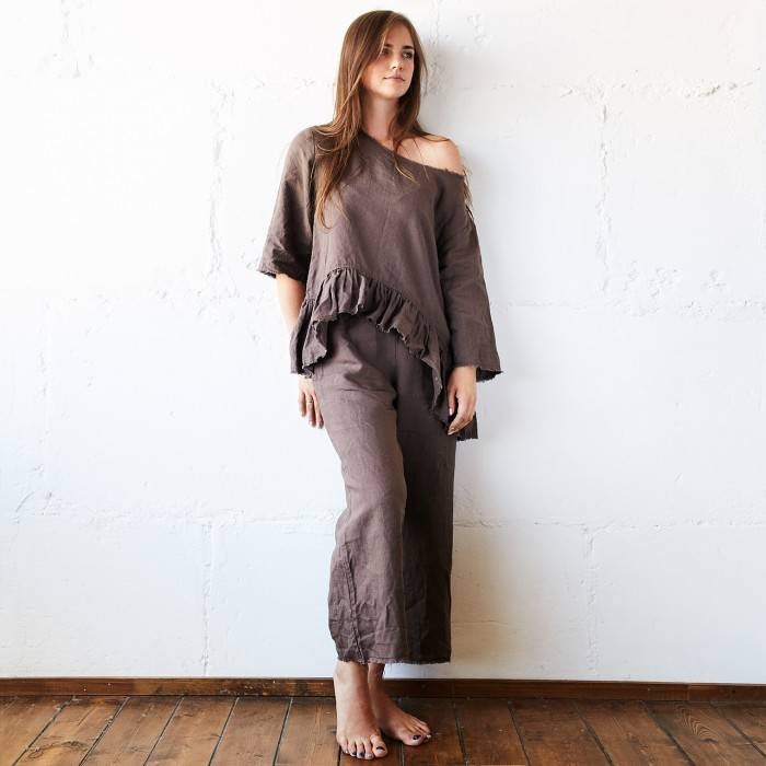 CHOCOLATE BROWN Linen pajama with culottes