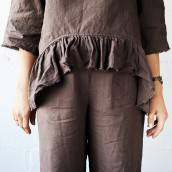 CHOCOLATE BROWN 100 Percent Flax Linen pajama with culottes