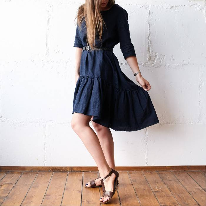 NIGHT BLUE Linen dress