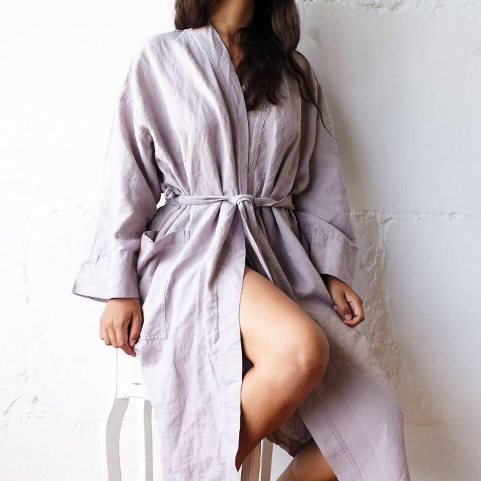 PINK ASH Linen robe