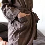 CHOCOLATE BROWN Pure Linen robe