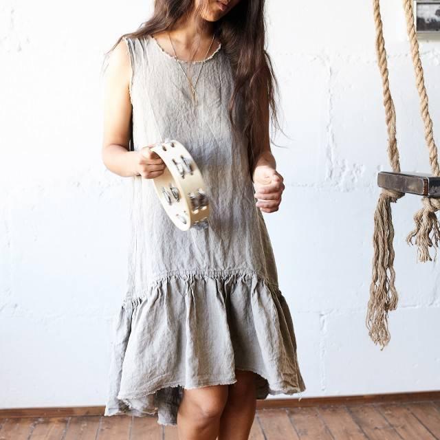 FLAX GRAY Linen dress sleeveless