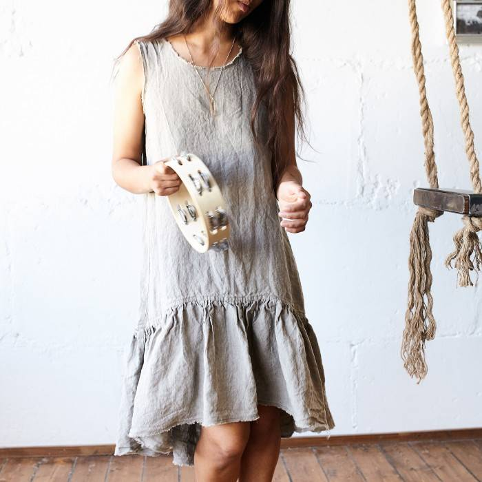 FLAX GRAY Linen dress sleeveless