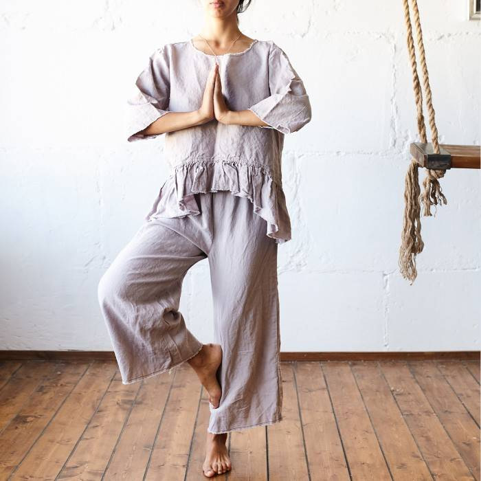 PINK ASH Linen pajama with culottes