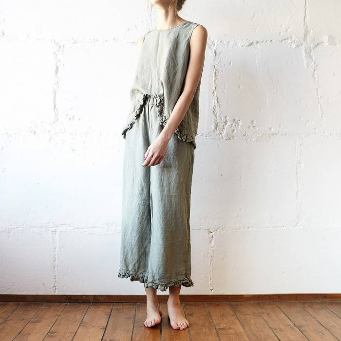 SAGE GREEN Linen pajama with culottes