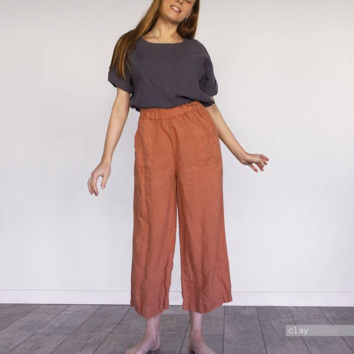 LINEN CULOTTES hem-edged with pockets
