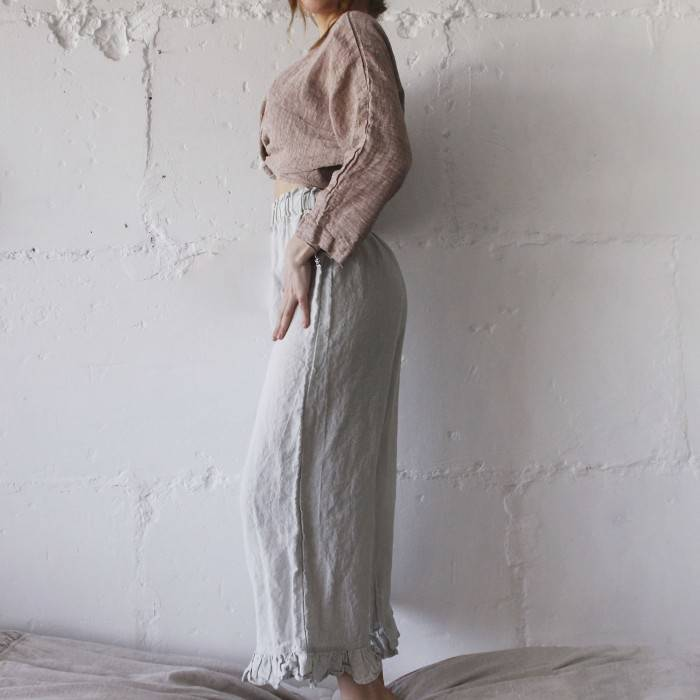 LINEN CULOTTES with little ruffle