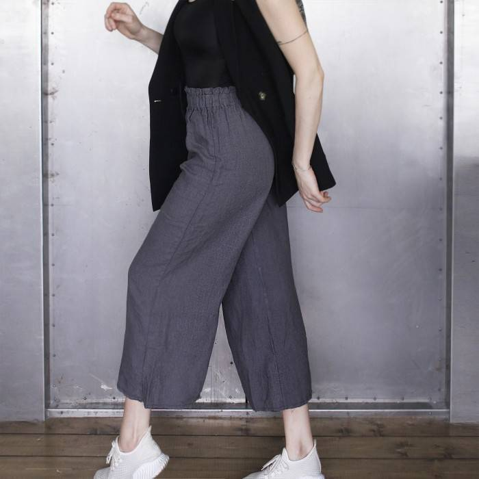 LINEN CULOTTES raw-edged