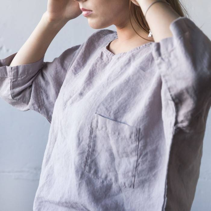 LINEN TOP with a pocket