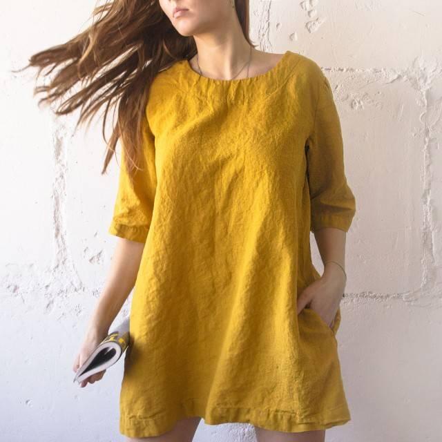 LINEN DRESS short with pockets