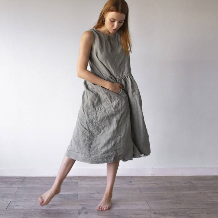 LINEN DRESS oversized sleeveless