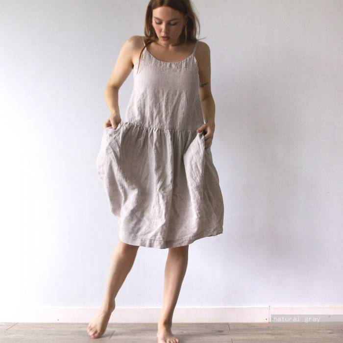 LINEN DRESS oversized on straps
