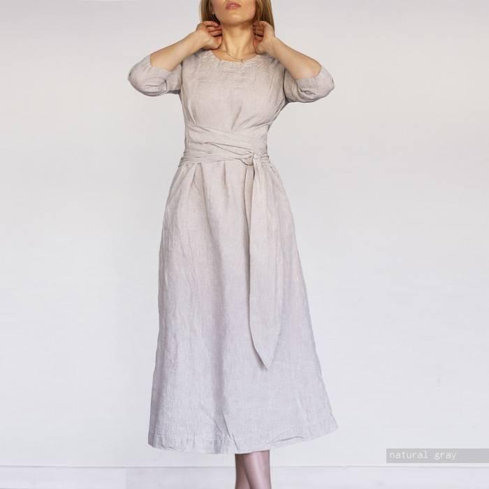 LINEN DRESS long