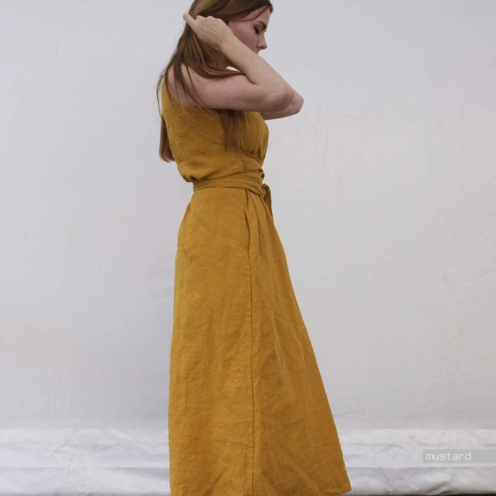 LINEN DRESS oversized sleeveless